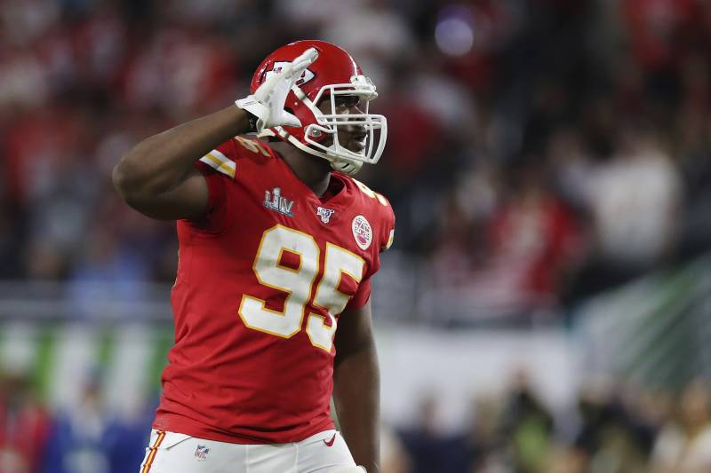 Kansas City Chiefs defensive end Chris Jones (95) reacts after a play during the second half of the NFL Super Bowl 54 football game between the San Francisco 49ers and Kansas City Chiefs Sunday, Feb. 2, 2020, in Miami Gardens, Fla. The Kansas City Chiefs won 31-20. (AP Photo/Steve Luciano)