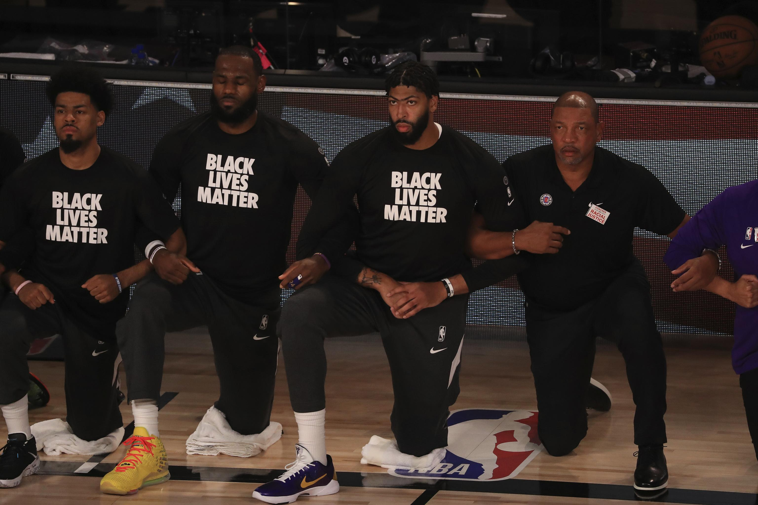 Lakers Clippers Kneel During National Anthem Before Opener At Nba Restart Bleacher Report Latest News Videos And Highlights