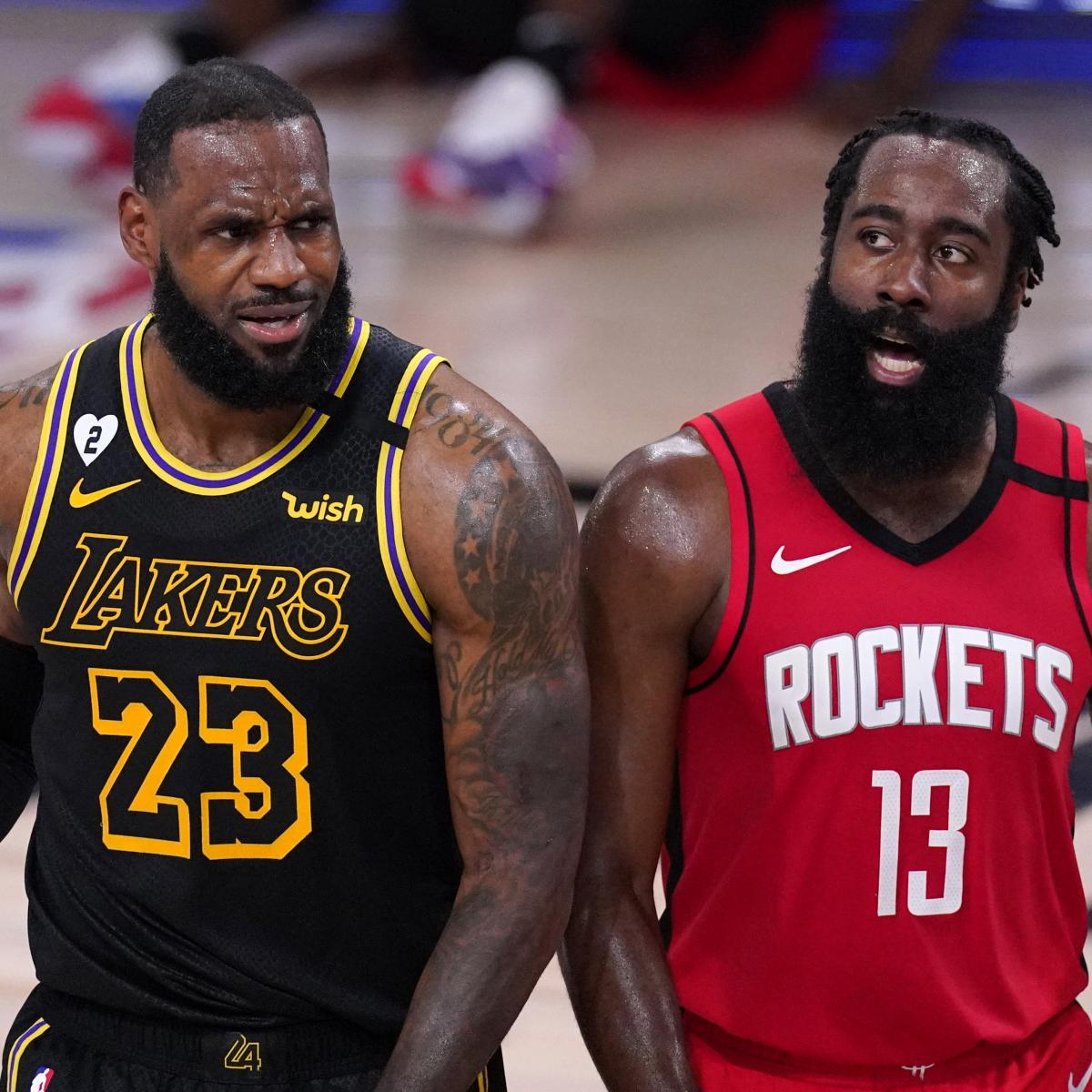 LeBron James, Anthony Davis Help Lakers Hold off James Harden, Rockets in Game 2 thumbnail