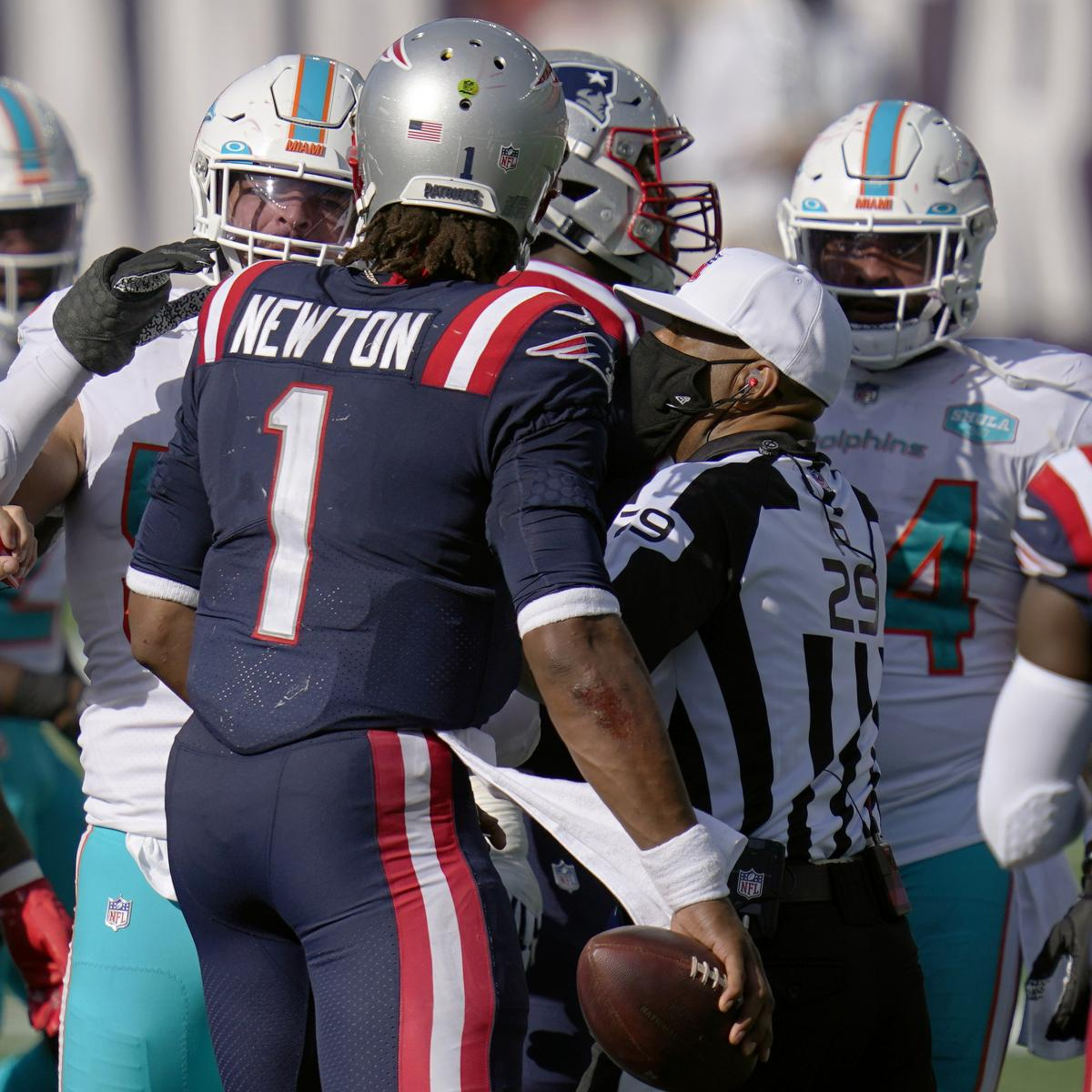 Patriots' Cam Newton Calls Dolphins' Chain-Snatch Strive 'A Price of Disrespect' thumbnail
