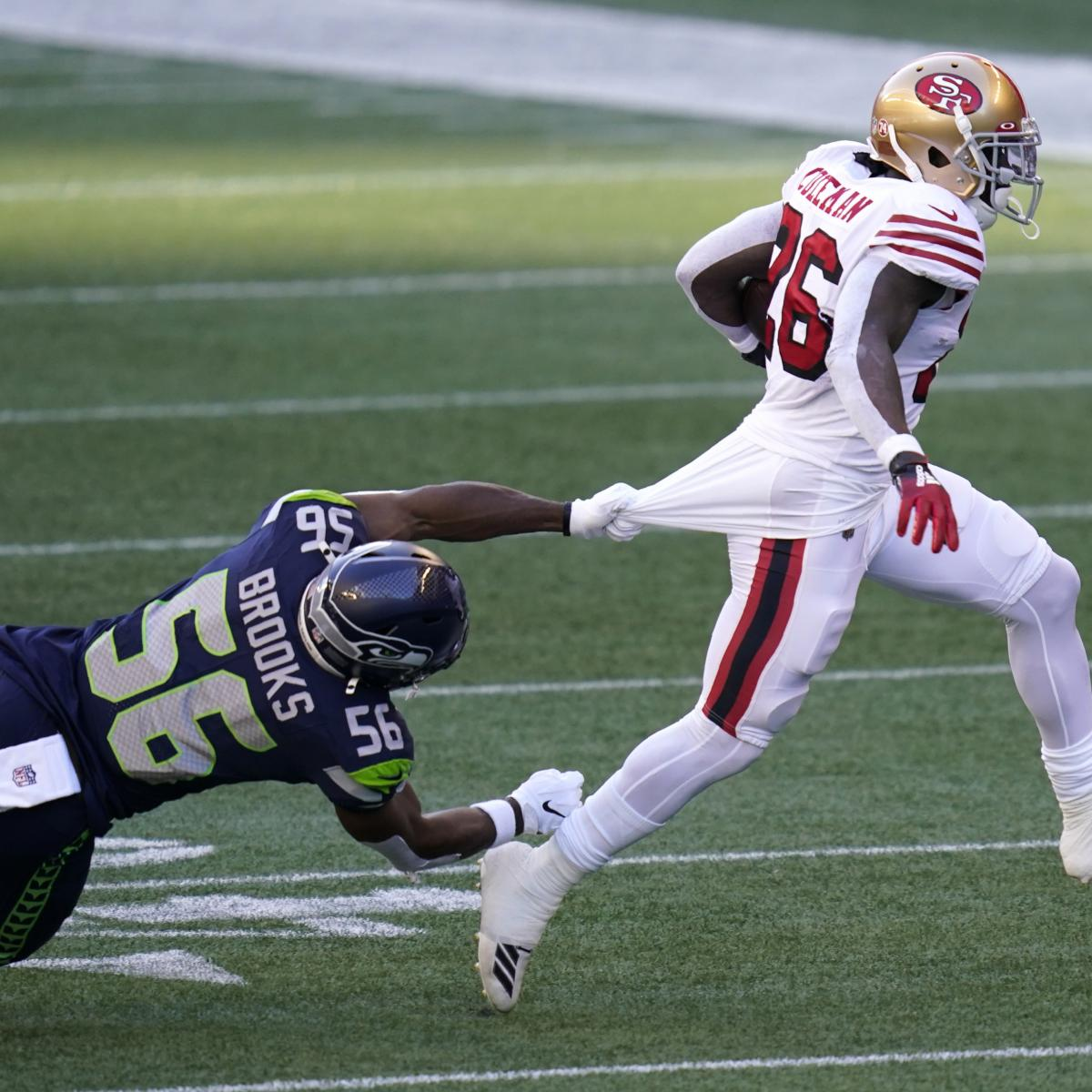 Tevin Coleman Ruled out for 49ers vs. Seahawks with Knee Injury