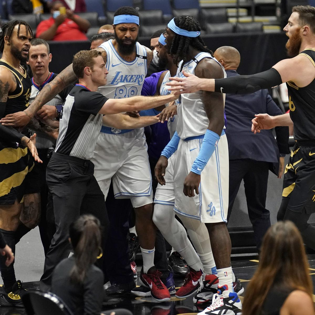 Lakers' Horton-Tucker, Raptors' VanVleet, Bembry Suspended 1 Game After Scuffle thumbnail
