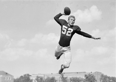 Harry Gilmer's trademark leaping passes keyed the Crimson Tide offense in the 1940s.