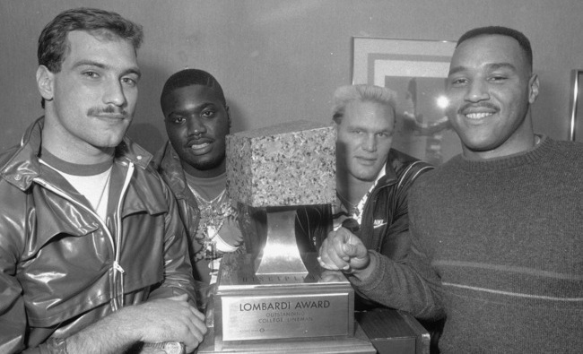 Cornelius Bennett, right, stands with the the other finalists for the 1986 Lombardi Trophy for best lineman.